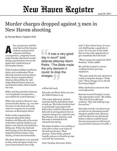 Murder Charges Dropped Against 3 Men in New Haven Shooting