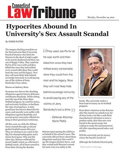 Hypocrites Abound In University's Sex Assault Scandal
