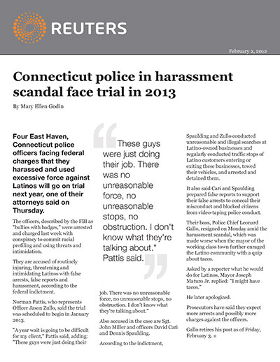 Connecticut police in harassment scandal face trial in 2013