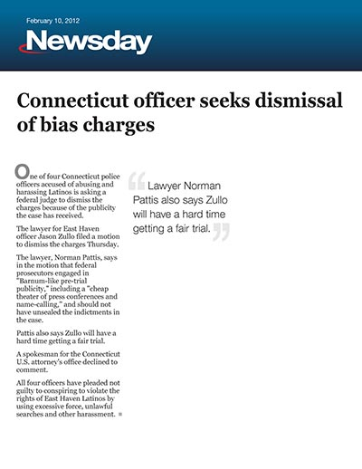 Connecticut officer seeks dismissal of bias charges