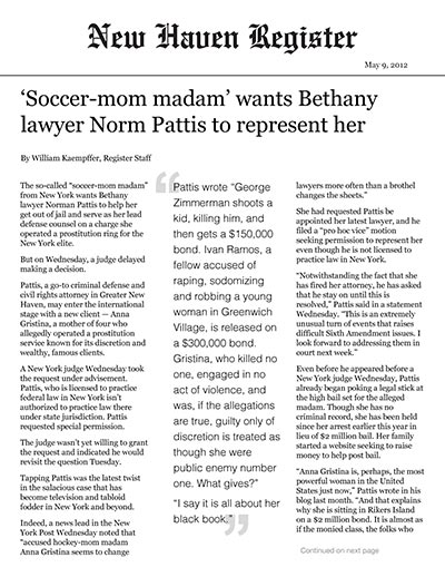 'Soccer-mom madam' wants Bethany lawyer Norm Pattis to represent her