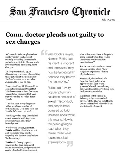 Conn. doctor pleads not guilty to sex charges