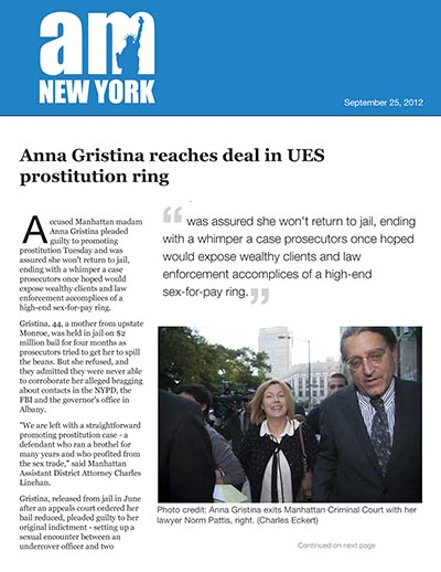 Anna Gristina reaches deal in UES prostitution ring