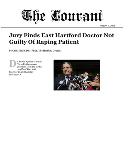 Jury Finds East Hartford Doctor Not Guilty of Raping Patient