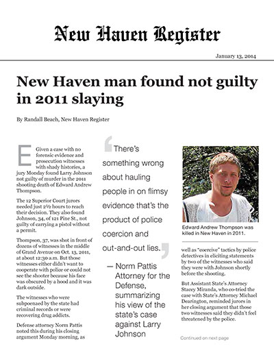 New Haven man found not guilty in 2011 slaying