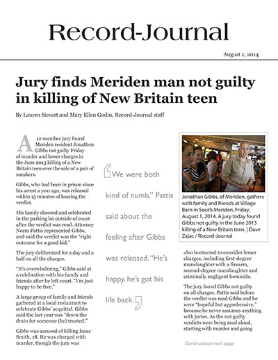 Jury finds Meriden man not guilty in killing of New Britain teen