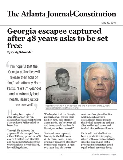 Georgia escapee captured after 48 years asks to be set free