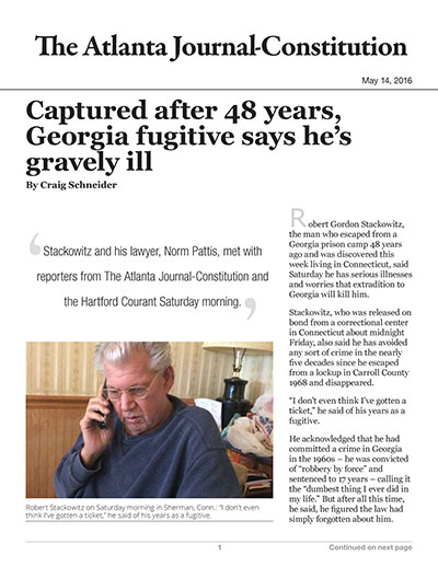 Fugitive from Georgia freed on bond, will fight charges