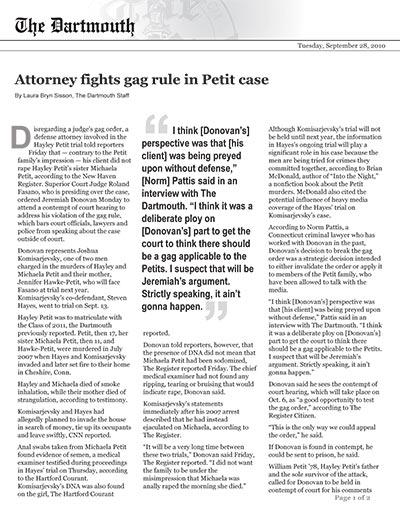 Attorney fights gag rule in Petit case