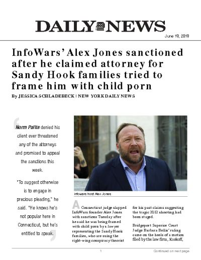 InfoWars' Alex Jones sanctioned after he claimed attorney for Sandy Hook families tried to frame him with child porn