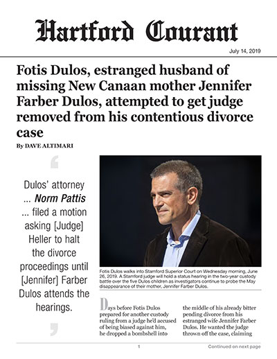 Fotis Dulos, estranged husband of missing New Canaan mother Jennifer Farber Dulos, attempted to get judge removed from his contentious divorce case