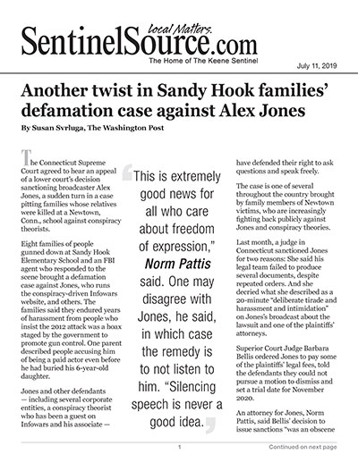 Another twist in Sandy Hook families' defamation case against Alex Jones