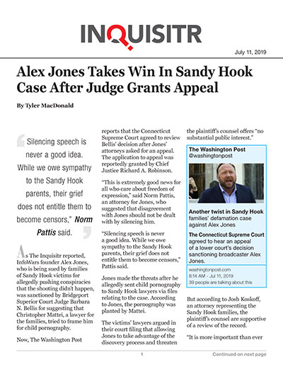 Alex Jones Takes Win In Sandy Hook Case After Judge Grants Appeal