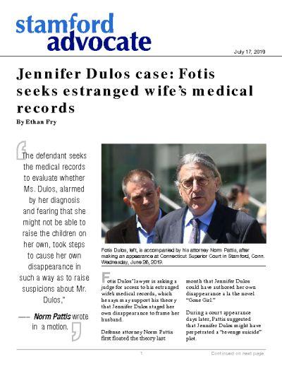 Jennifer Dulos case: Fotis seeks estranged wife's medical records