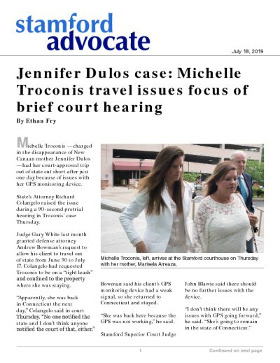 Jennifer Dulos case: Michelle Troconis travel issues focus of brief court hearing