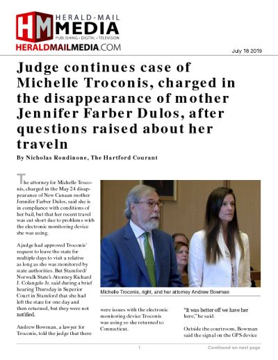 Judge continues case of Michelle Troconis, charged in the disappearance of mother Jennifer Farber Dulos, after questions raised about her travel