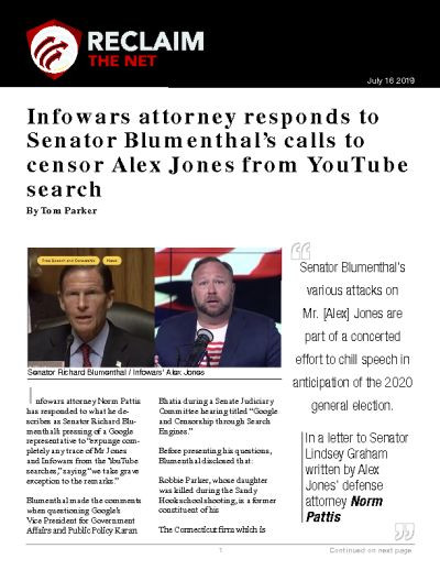 Infowars attorney responds to Senator Blumenthal's calls to censor Alex Jones from YouTube search