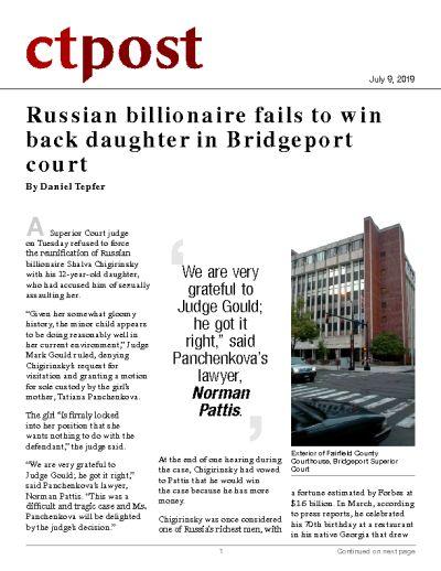Russian billionaire fails to win back daughter in Bridgeport court