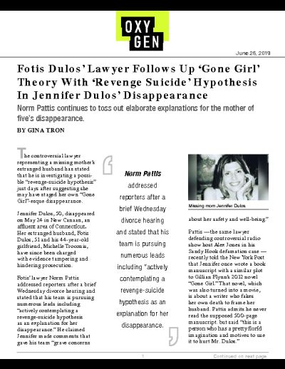 Fotis Dulos' Lawyer Follows Up 'Gone Girl' Theory With 'Revenge Suicide' Hypothesis In Jennifer Dulos' Disappearance