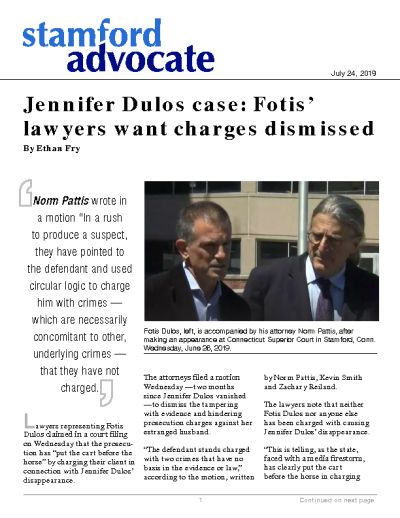 Jennifer Dulos case: Fotis' lawyers want charges dismissed