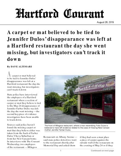 A carpet or mat believed to be tied to Jennifer Dulos' disappearance was left at a Hartford restaurant the day she went missing, but investigators can't track it down