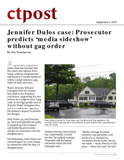Jennifer Dulos case: Prosecutor predicts 'media sideshow' without gag order