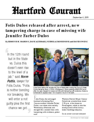 Fotis Dulos released after arrest, new tampering charge in case of missing wife Jennifer Farber Dulos