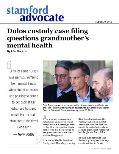 Dulos custody case filing questions grandmother's mental health