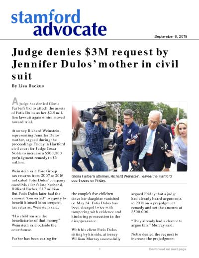 Judge denies $3M request by Jennifer Dulos' mother in civil suit
