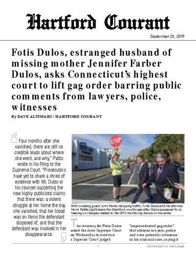 Fotis Dulos, estranged husband of missing mother Jennifer Farber Dulos, asks Connecticut's highest court to lift gag order barring public comments from lawyers, police, witnesses