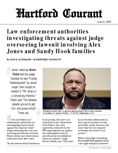 Law enforcement authorities investigating threats against judge overseeing lawsuit involving Alex Jones and Sandy Hook families