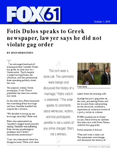 Fotis Dulos speaks to Greek newspaper, lawyer says he did not violate gag order