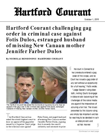 Hartford Courant challenging gag order in criminal case against Fotis Dulos, estranged husband of missing New Canaan mother Jennifer Farber Dulos