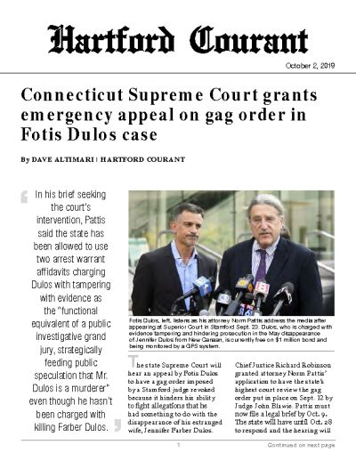 Connecticut Supreme Court grants emergency appeal on gag order in Fotis Dulos case