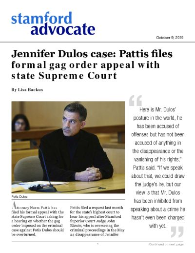 Jennifer Dulos case: Pattis files formal gag order appeal with state Supreme Court