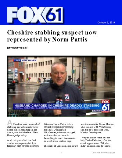 Cheshire stabbing suspect now represented by Norm Pattis