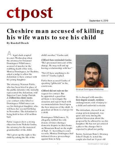 Cheshire man accused of killing his wife wants to see his child