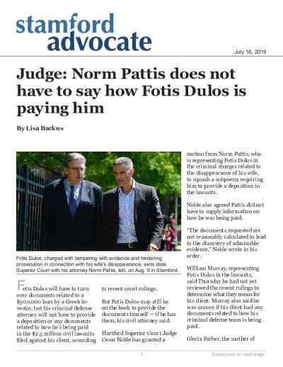 Judge: Norm Pattis does not have to say how Fotis Dulos is paying him