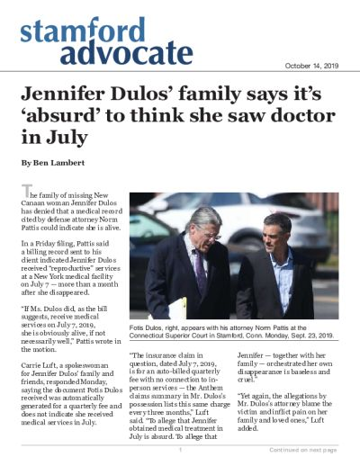 Jennifer Dulos' family says it's 'absurd' to think she saw doctor in July