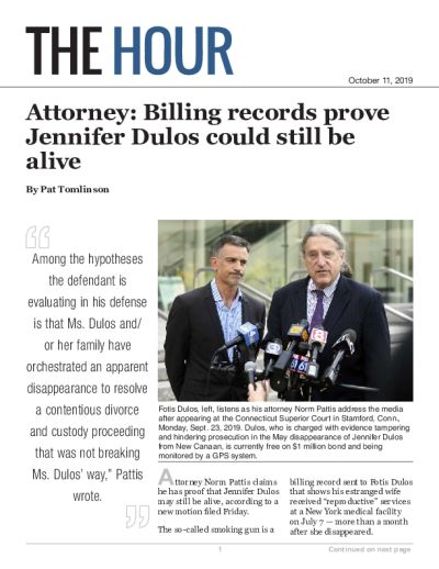 Attorney: Billing records prove Jennifer Dulos could still be alive