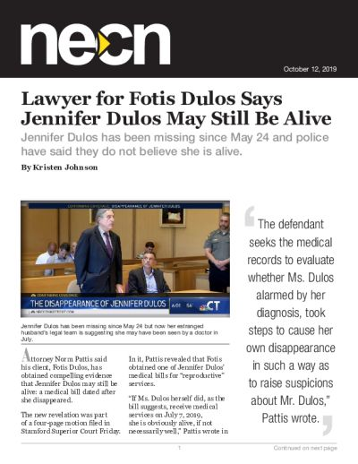 Lawyer for Fotis Dulos Says Jennifer Dulos May Still Be Alive