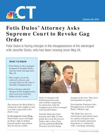 Fotis Dulos' Attorney Asks Supreme Court to Revoke Gag Order