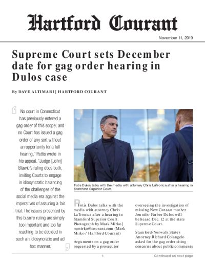 Supreme Court sets December date for gag order hearing in Dulos case