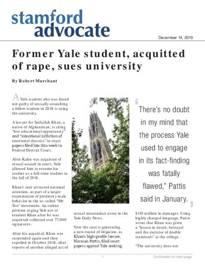Former Yale student, acquitted of rape, sues university