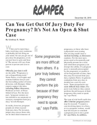 Can You Get Out Of Jury Duty For Pregnancy? It's Not An Open & Shut Case