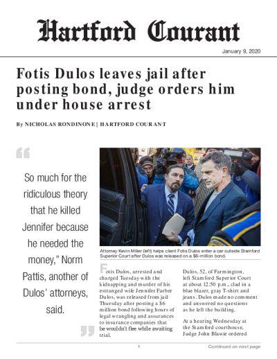 Fotis Dulos leaves jail after posting bond, judge orders him under house arrest