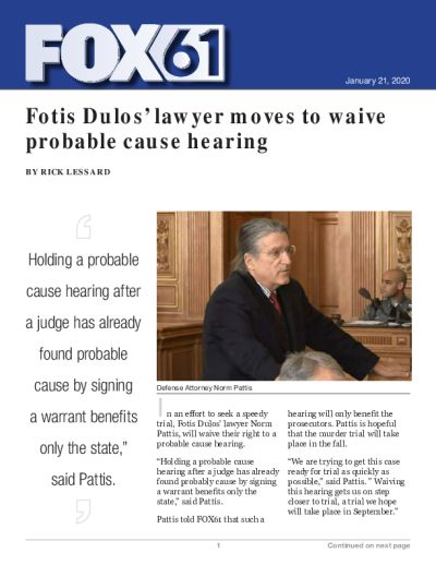 Fotis Dulos' lawyer moves to waive probable cause hearing
