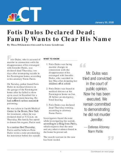 Fotis Dulos Declared Dead; Family Wants to Clear His Name
