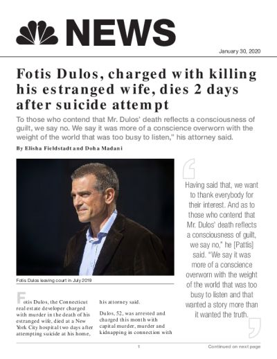 Fotis Dulos, charged with killing his estranged wife, dies 2 days after suicide attempt