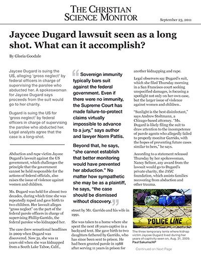 Jaycee Dugard lawsuit seen as a long shot. What can it accomplish?